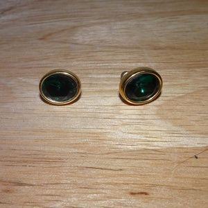 Vtg. S.A.L. Swarovski Green Faceted Earrings